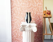 Venus Wallpaper in Terra Cotta / Removable Wallpaper / Adheres to walls and shelves and is removable
