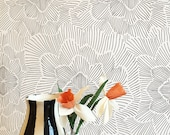 Removable Wallpaper / Pinstripe Floral Black and White / Assorted lengths / Perfect for Renters and owners