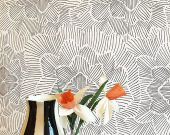 Removable wallpaper etsy removable wallpaper pinstripe floral black and white assorted lengths perfect for renters and owners mightylinksfo