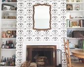 Eye Damask Wallpaper / Removable Wall Covering for renters or owners / Assorted Length Rolls