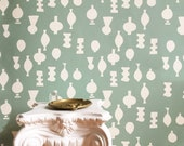 Removable Wallpaper // All About That Vase // Adheres to walls and shelves // Fully removable