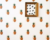 Removable Wallpaper/ Pineapple Print / Adheres to walls and shelves / perfect for renters