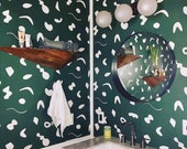 Removable Wallpaper // Shape Theory Green // Perfect for renters and DIY projects