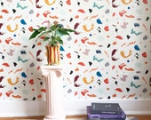 Removable Wallpaper // Painted Palette // Adheres to walls and shelves // Fully removable