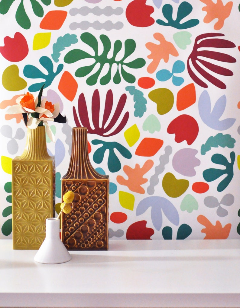 Removable Wallpaper // Muse in multicolor // Adheres to walls image 0
