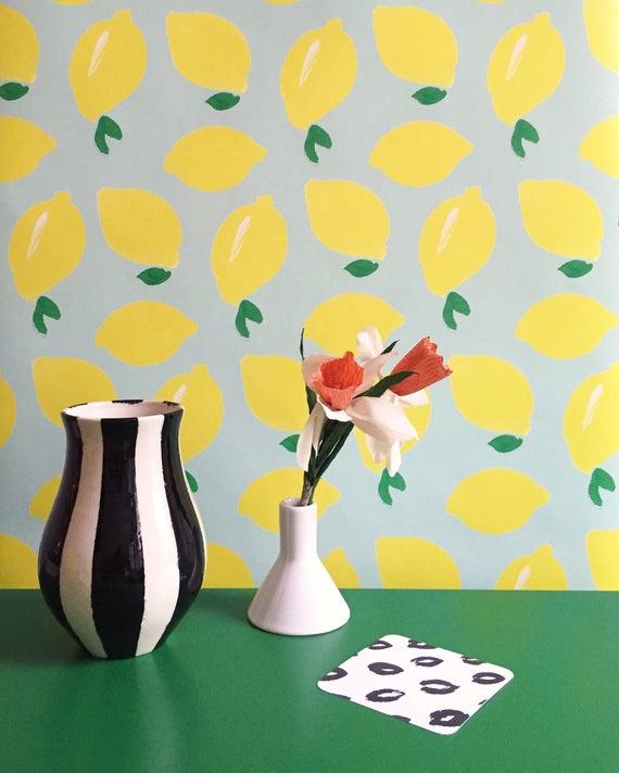 Removable Wallpaper Lemon Bowl Print Assorted Lengths Etsy
