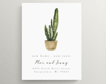 new address card with plants I/'ve moved address change announcement cactus just moved announcement new roots plant moving announcement