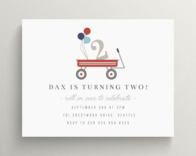 red wagon birthday invitation first birthday wagon invitation baby shower invitation radio flyer