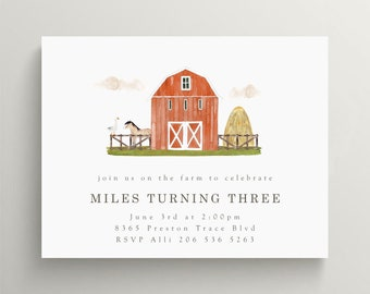 barnyard invitation, farm invitation, red barn invitation, birthday, baby shower, farm party, petting zoo, red barn, first birthday