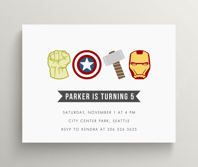 avengers inspired invitation birthday baby shower hulk   Etsy