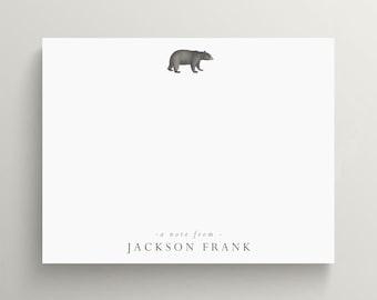 personalized stationery set, flat note card set, custom stationery, black bear note card, bear cub stationery