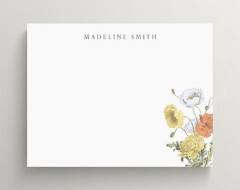 personalized stationery set, flat note card set, modern floral note card, floral stationery, poppy flowers, yellow and orange flowers