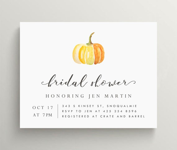 pumpkin invitation pumpkin bridal shower invitation pumpkin etsy