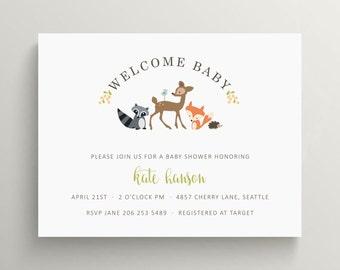 woodland friends baby shower invitation   brithday   raccoon   fox   hedgehog   deer   forest   animals   gender neutral   sip and see