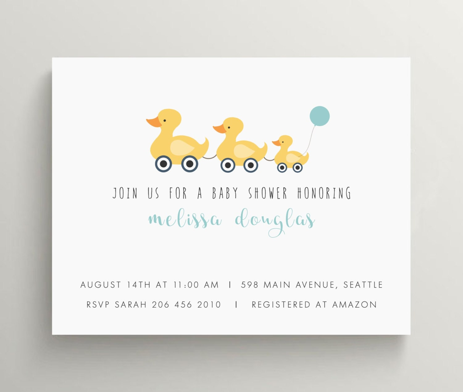 little yellow ducks invitation duck baby shower invitation | Etsy