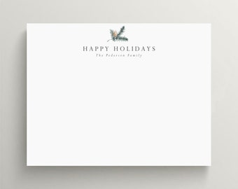 personalized holiday stationery set, flat note card set, holiday note card, christmas stationery, winter pine cone