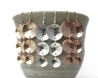 Three Tiered Hammered Discs. Chandelier Hammered Earrings. Sterling Silver. 14k Yellow Gold Fill. 14k Rose Gold Fill. Gradation Dangle.