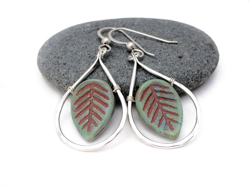 Adirondack Jewelry Sterling Silver and Bohemian Czech Glass Painted Leaves. Green Rustic Leaves Autumnal Jewelry Fall Foliage Earrings