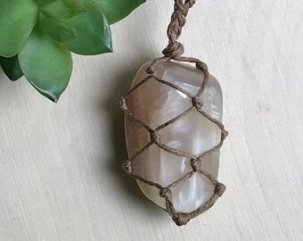 Moonstone Pendant Necklace - Moonstone Necklace - Hemp Wrapped Stone - Boho Crystal Jewelry - Healing Crystal Necklace Hippie Style Necklace