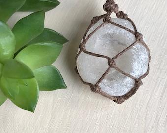 Clear Quartz Seer Stone Necklace - Quartz Crystal Jewelry - Window Quartz Seer Stone - Hippie Style Festie Jewelry - Bohemian Style