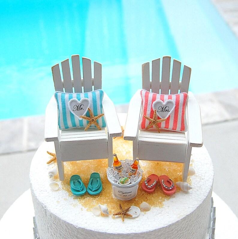 b2ed57da4543 BEACH WEDDING Cake Topper Custom Colors Fits 6 Inch Cake
