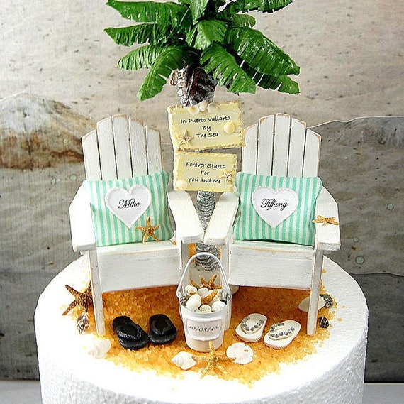 4b20bbfef6fd BEACH Wedding Cake Topper Tropical Custom Colors Fits 6 Inch