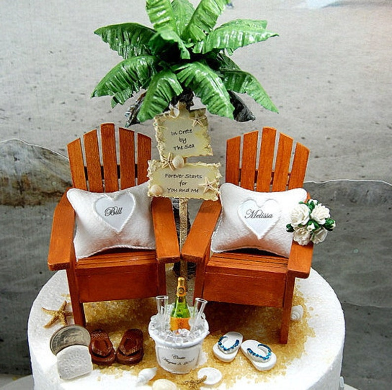 b730c0c94a78 BEACH WEDDING Cake Topper Tropical Custom Colors Fits 6