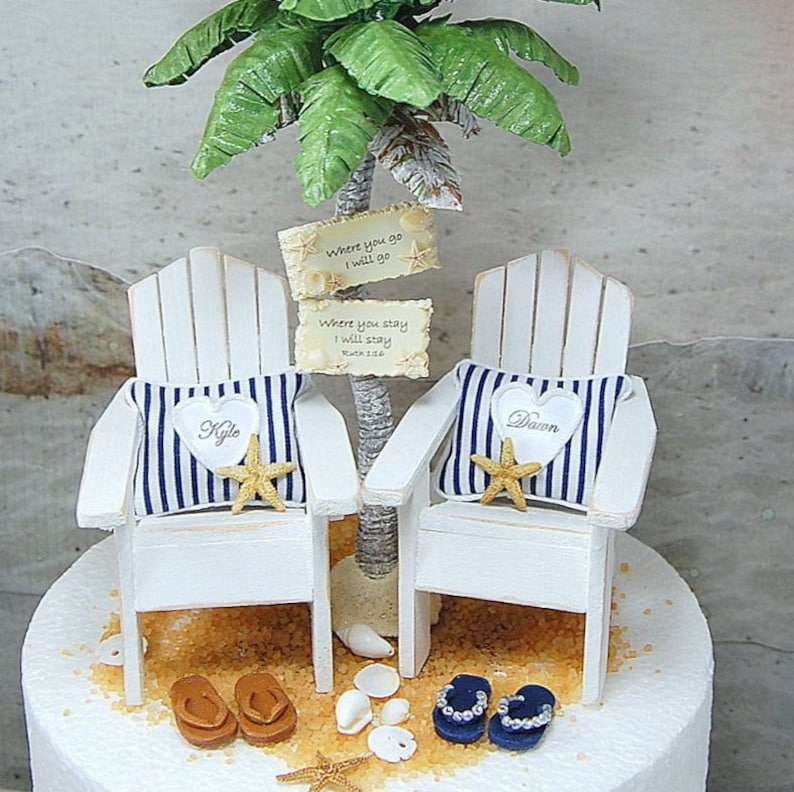 adf77134d NAUTICAL BEACH WEDDING Cake Topper Custom Colors 6 Inch Cake