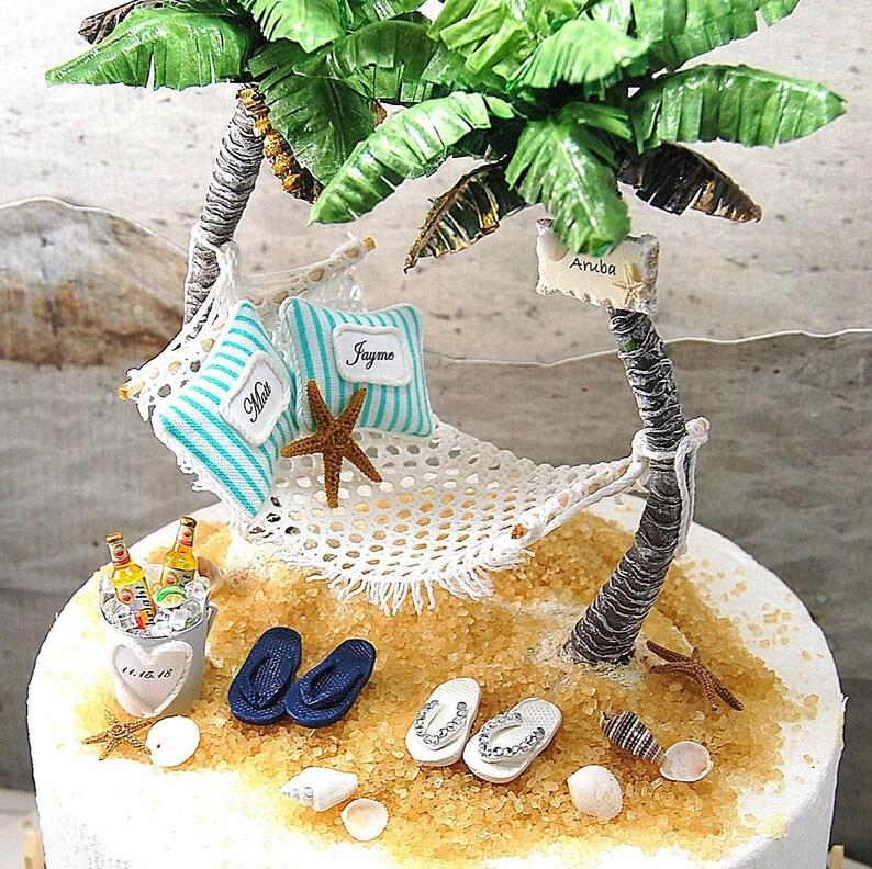eedc3e59231a BEACH WEDDING Cake Topper TROPICAL Custom Colors Fits 6