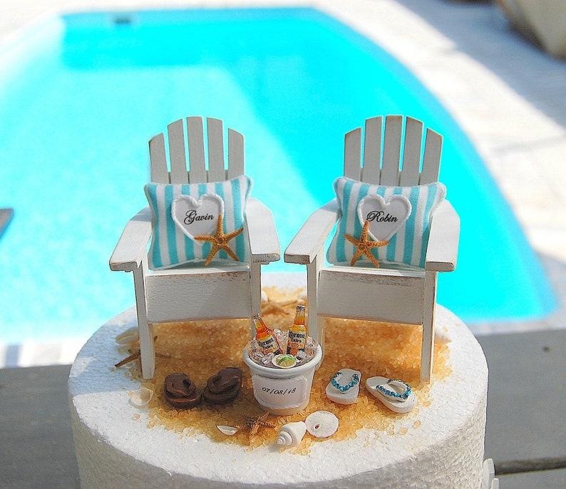 aeaa42515c2a BEACH 6 INCH WEDDING Cake Topper Custom Colors Fits 6 Inch