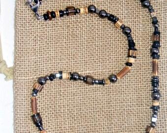 Gunmetal Rocker Beaded Necklace