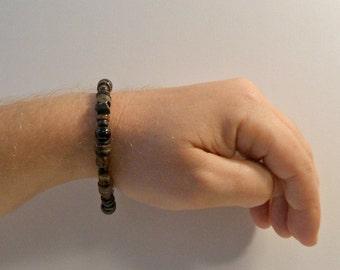 Men's Garnet Dark Beaded Bracelet