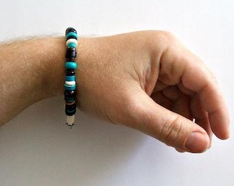 Men's Blue Gemstone And Garnet Beaded Hamptons Bracelet