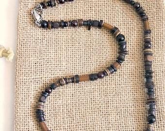 Men's Dark Garnet Beaded Necklace