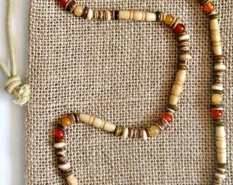 Men's Gemstone Bone Beaded Stretch Necklace
