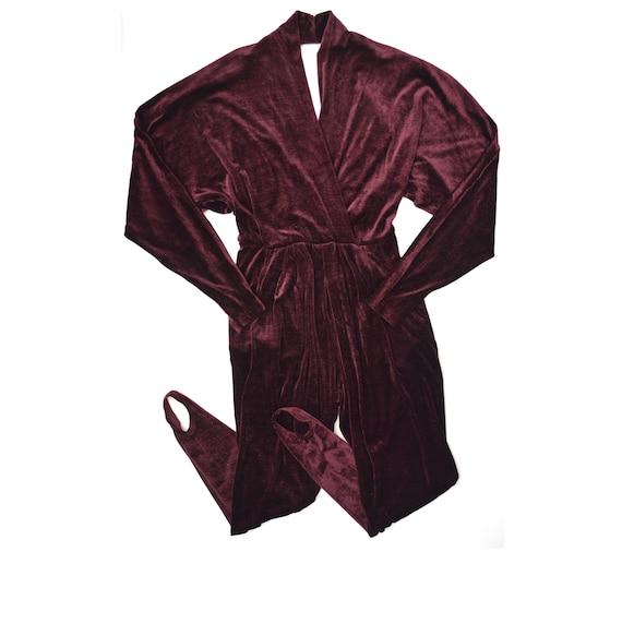 Vintage Ginger Bort Velvet Burgundy Jumpsuit XS