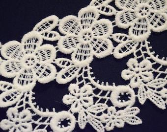 Vintage European floral Venise lace - bridal trim
