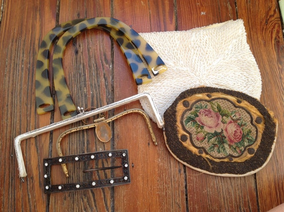 Vintage purse craft lot - beads, purse frames, han