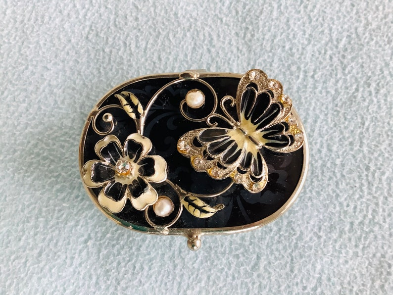 2 Enameled Butterfly And Flower Motif Trinket Boxes