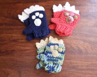 Crochet Monster Mittens; Crochet Mittens; Child's Crochet Mittens; Multicolored Monster Mittens; 4-7 Year Old Mittens; Mittens; Crochet