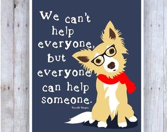 Dog Artwork, Rescue Dog Sign, Animal Rescue, Pet Rescue, Pet Adoption, Dog Quote, Funny Dog Poster, Shelter Dog, Dog With Glasses Art