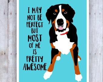 Swiss Mountain Dog Art, Funny Dog Art, Dog Artwork, Funny Dog Artwork, Veterinarian Gift, Dog Poster, Mountain Art, Dog Lover Gift
