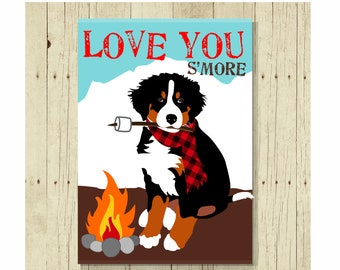 Bernese Mountain Dog Love You  S'more Refrigerator Magnet