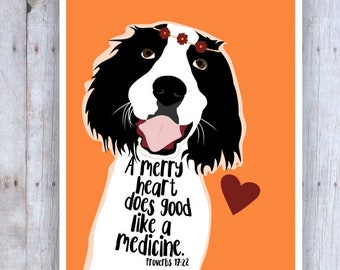 Happy Dog, Springer Spaniel Art, Proverbs 17:22, Inspirational Wall Decor, Pet Art, Smile Artwork, Animal Prints, Funny, Bible Verse