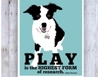 Border Collie, Border Collie Print, Kids Room Artwork, Dog Wall Decor, Black and White Dog, Famous Quote, Albert Einstein, Classroom Decor