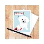 Maltese HappyBirthday Card, Maltese Mother's Day Card, Dog Greeting Card, Maltese Art, Angel Food Cake, Happy Birthday Card, Dog Card