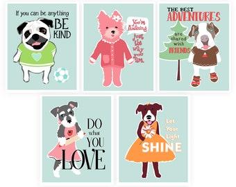 Cute Dog Art, Pug Art, Affirmation Poster for Kids, Little Girl Bedroom Decor, Cute Dog Print, Dog Prints for Kids,  Girl Dog Print