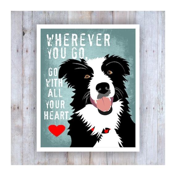 "Border Collie  dog  poster  8 1//2 /"" x 10/"""