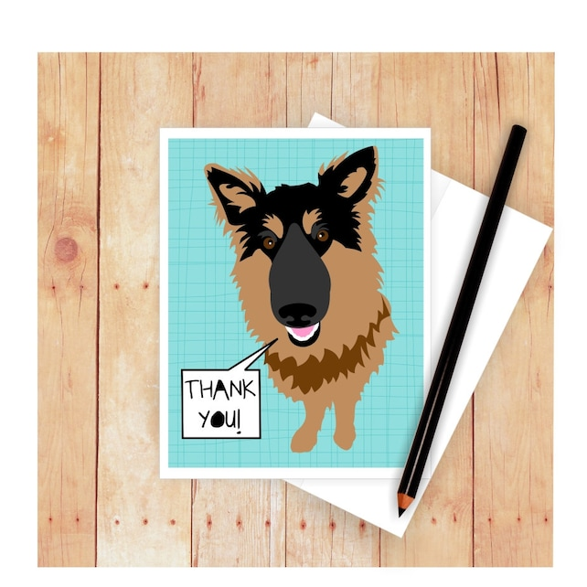 German Shepherd Thank You Card Happy Fathers Day Card Etsy