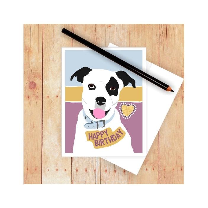Pitbull Dog Dog Card Pitbull Card Cute Dog Card Dog | Etsy